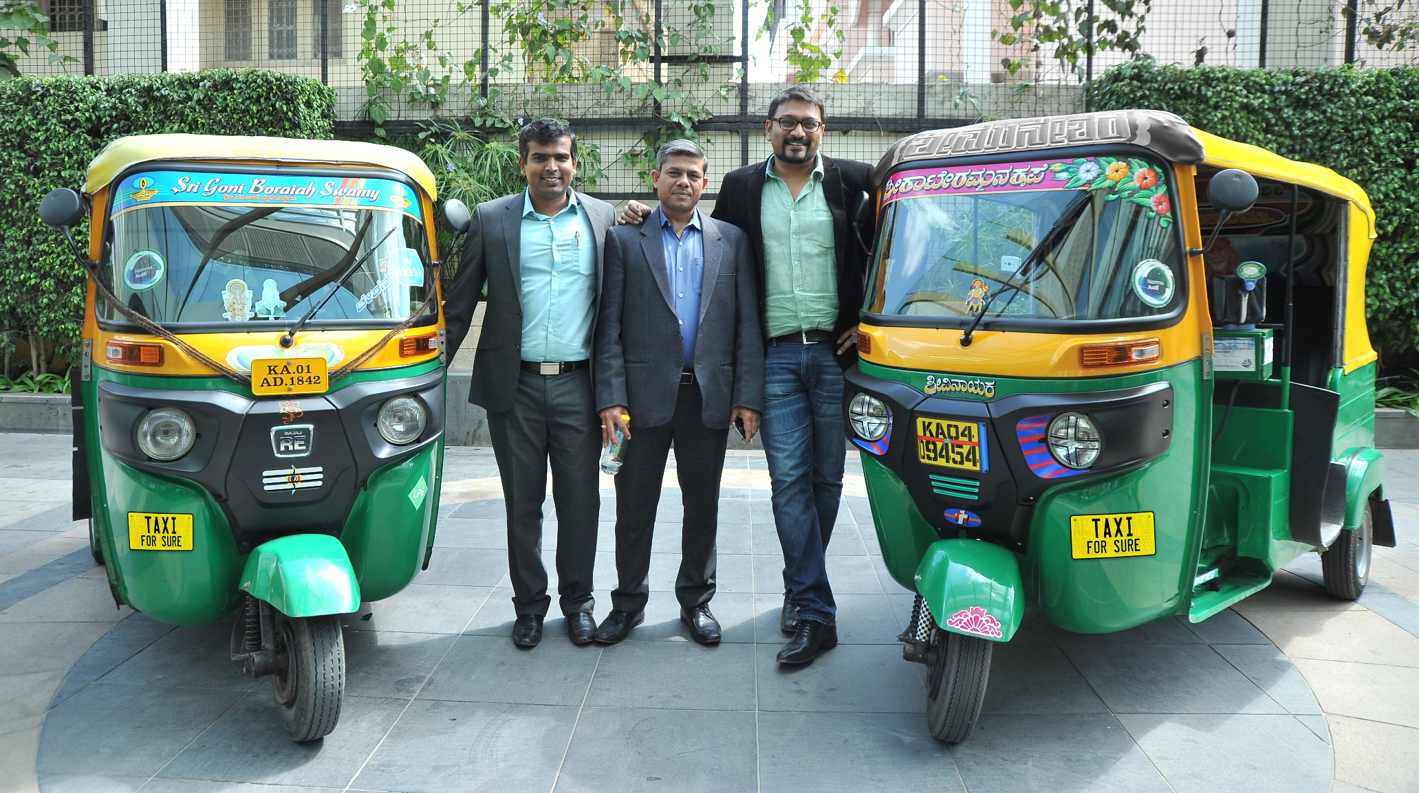TaxiForSure launches Auto Service_L-R_Raghunandan G CEO and Co-founder Arvind Singhal COO Aprameya R Co-founder and Director TaxiForSure