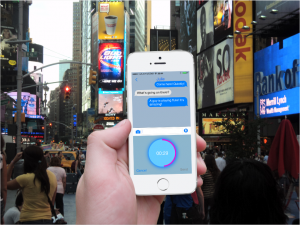 Vojer-Recording-Voice-Message-in-Crowd-NYC