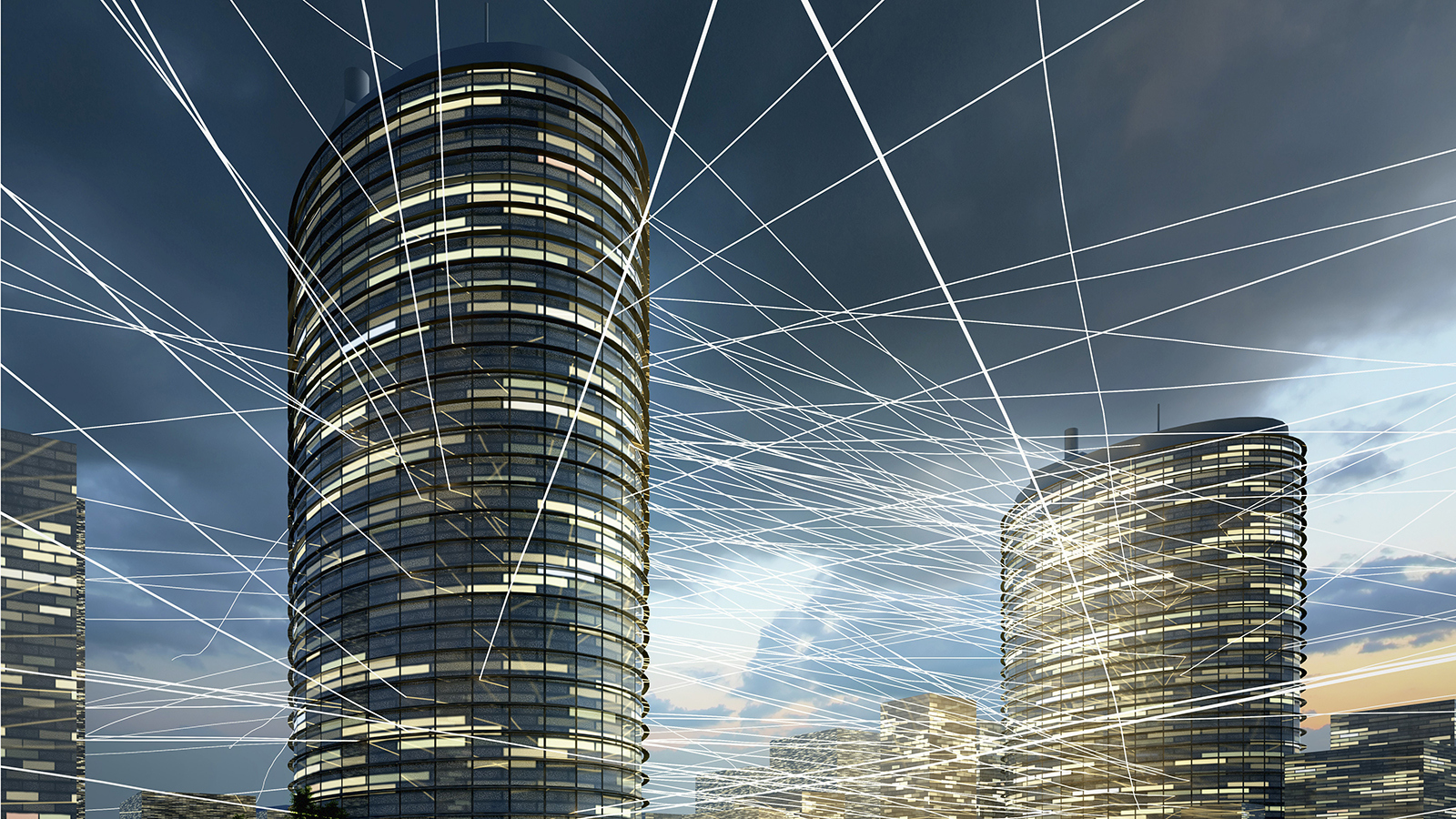 office towers with light beams visualizing communication flow