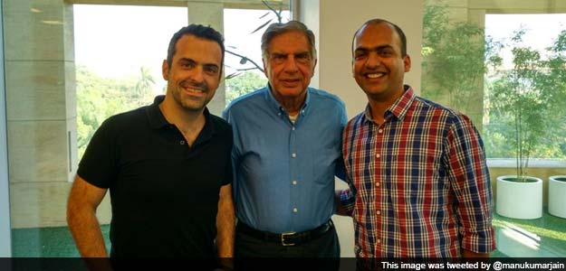 Ratan Tata (Middle) with Xiaomi's India head, Manu Kumar Jain (Right)