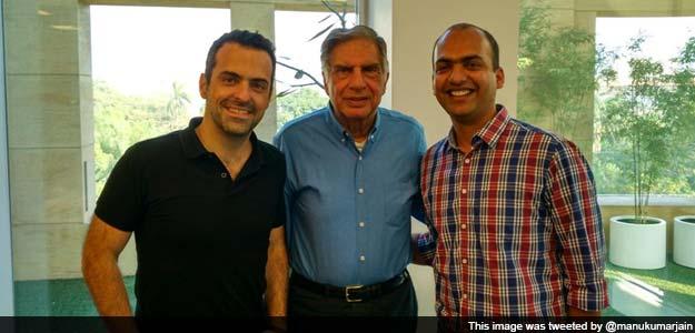 Ratan Tata (Middle) with Xiaomi's India head, Manu Kumar Jain (Right)