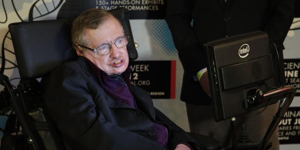 Stephen Hawking appears in Seattle, Saturday, June 162012. Hawking was taking part in the Seattle Science Festival Luminaries Series. (AP Photo/Ted S. Warren)