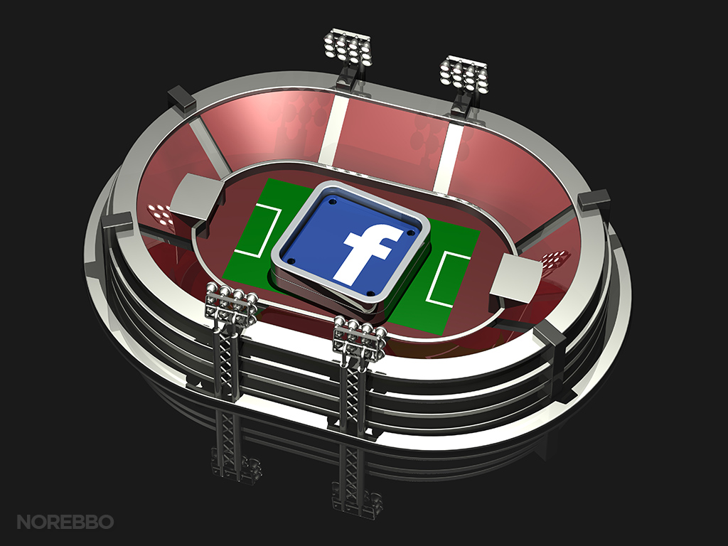 3d illustration of a top down view of a large sports stadium with a square Facebook app icon sitting on the field