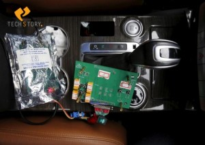 Part of devices of a brain-controlled vehicle system is seen connected to a car during a demonstration at Nankai University in Tianjin