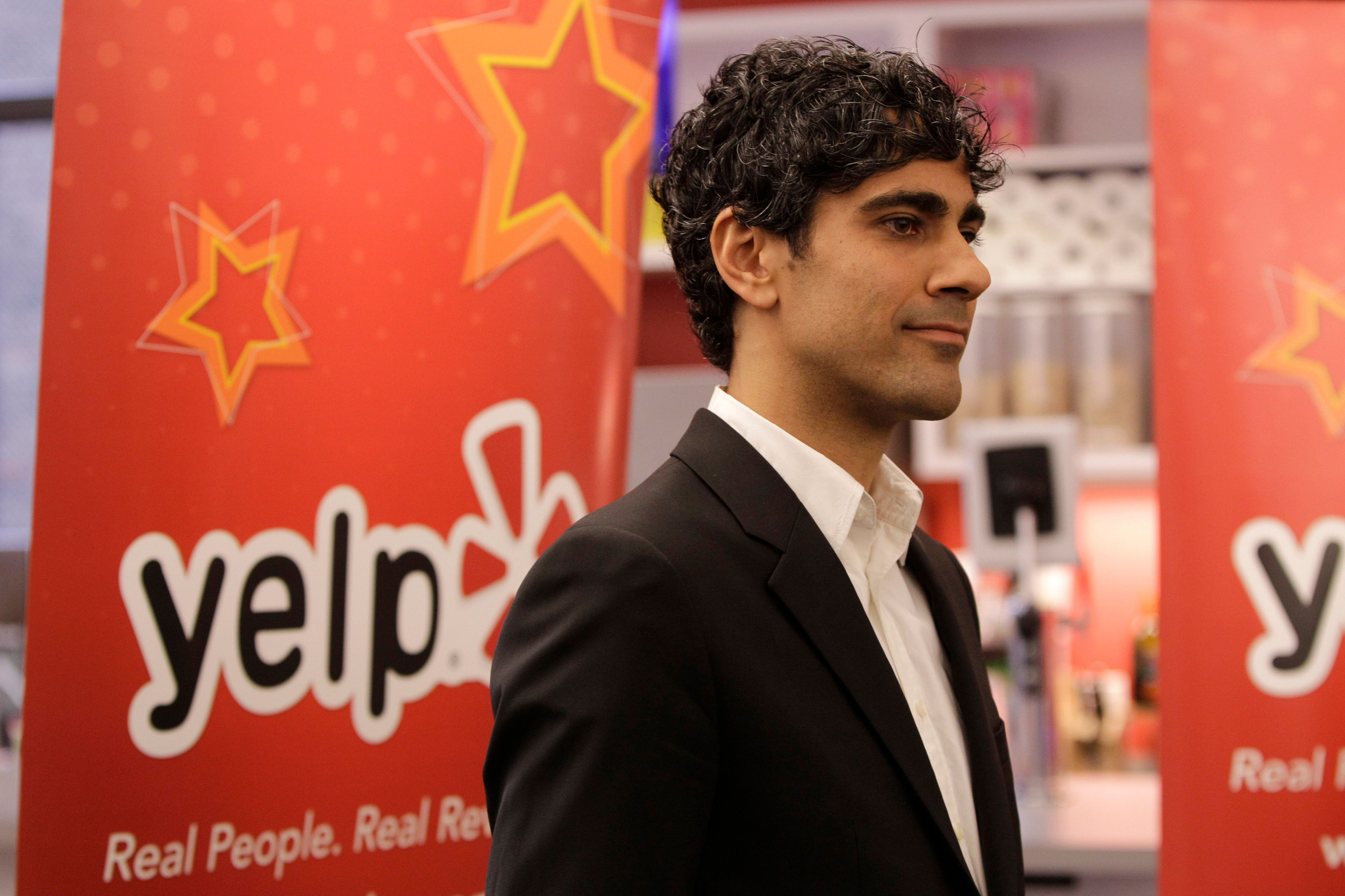 Yelp CEO and co-founder Jeremy Stoppelman is shown at the new Manhattan offices of the online reviews website in New York, Wednesday, Oct. 26, 2011. Yelp opened a 9,500 square-foot space in the same office building where Apple is located on Fifth Avenue near Union Square.  (AP Photo/Kathy Willens)