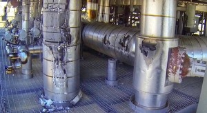 Damaged steam ducts and water pipes. (Image: San Bernardino County Fire Department via AP)