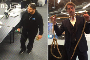 In images from a lawsuit filed by Brogan BamBrogan, photos show Afshin Pishevar carrying a rope near Mr. BamBrogan's desk, left, and Mr. BamBrogan holding the rope he says he found at his desk. PHOTO: LAW OFFICES COTCHETT, PITRE & MCCARTHY, LLP
