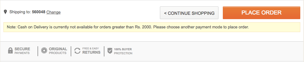 cash delivery restriction flipkart