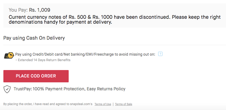 cash delivery restriction snapdeal