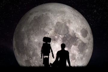 Man and his robot friend looking on moon. Future technology conc