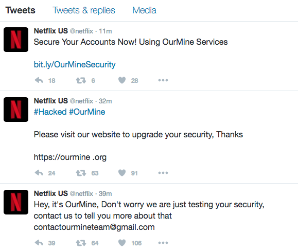 OurMine hackers take over Netflix's Twitter account