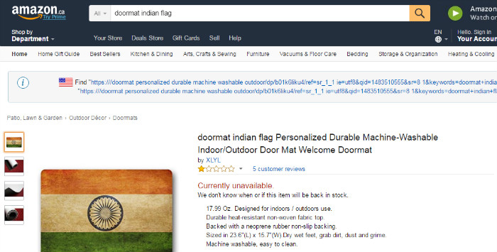 amazon disrespecting Indian flag