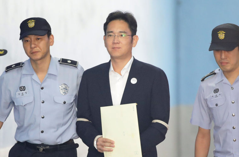 samsung jay lee jailed five years