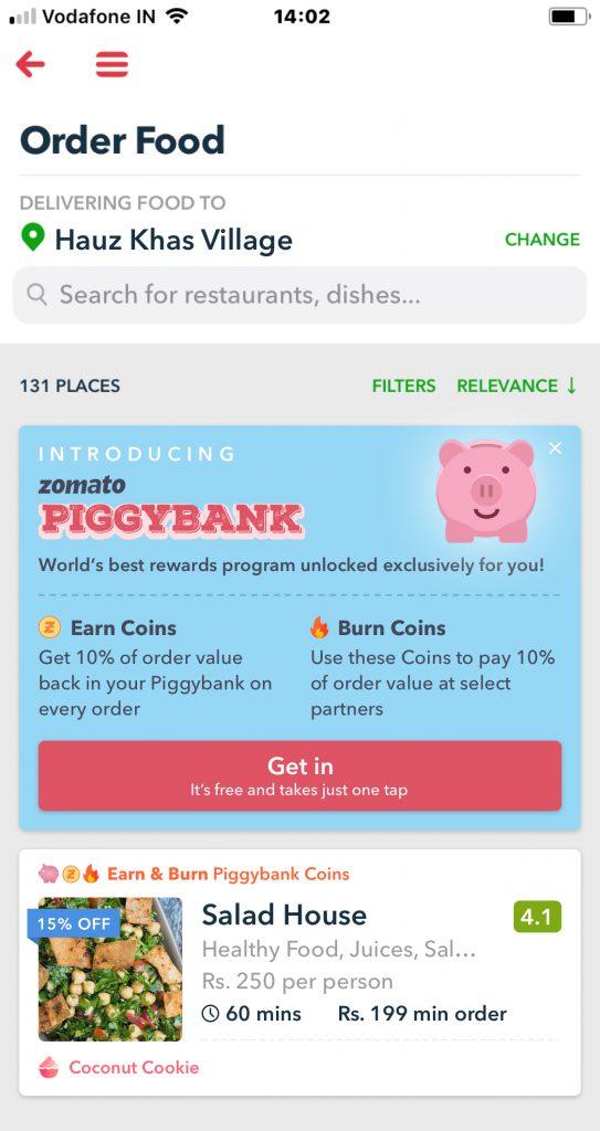 Zomato PiggyBank
