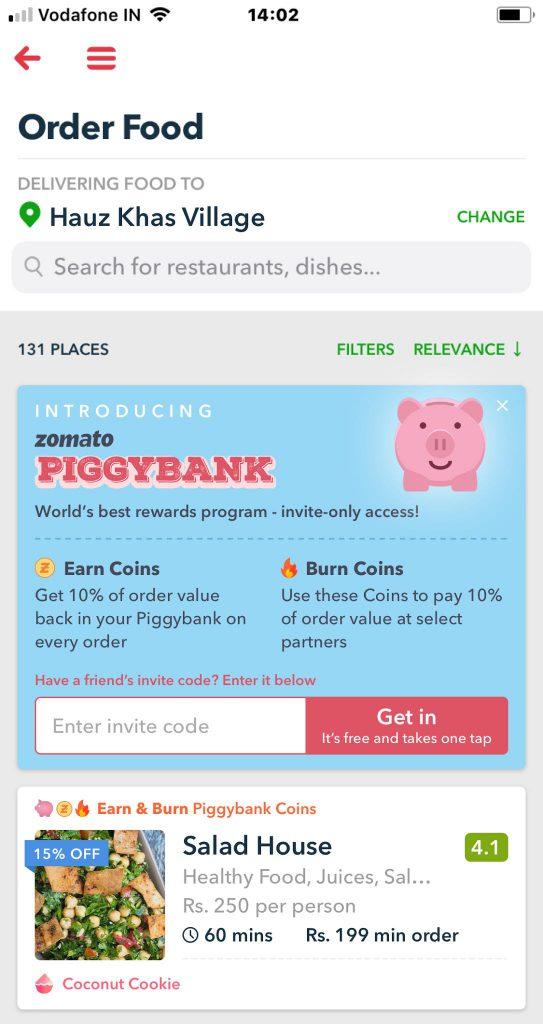 Zomato PiggyBank Invite Referral