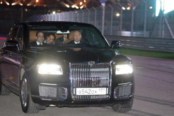 Putin driving Aurus Senat on F1 track