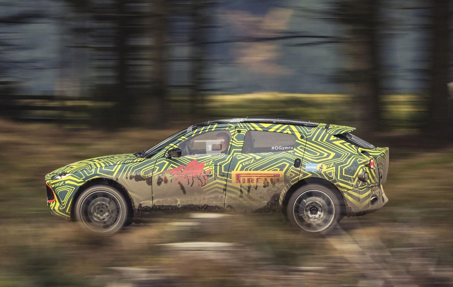 Aston Martin DBX SUV prototype side profile
