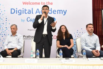 Ashwin Yardi - CEO of Capgemini India addressing media & students during launch of Digital Academy.