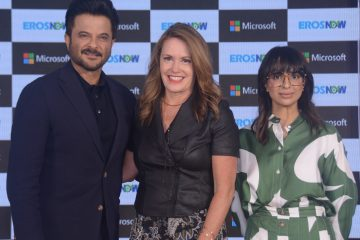(Left to Right) Anil Kapoor, Peggy Johnson Executive Vice President, Microsoft Corp and Rishika Lulla Singh, CEO, Eros Digital