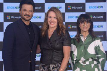 (Left to Right) Anil Kapoor, Peggy Johnson Executive Vice President, Microsoft Corp and Rishika Lulla Singh, CEO, Eros Digital