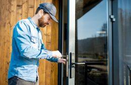 Man opening a door