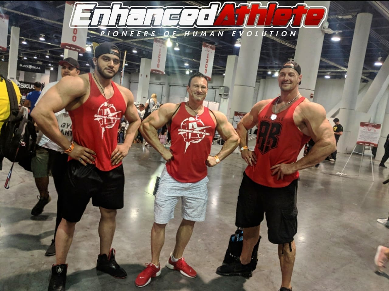 Right Aaron reed World tallest bodybuilder middle Dr.Tony huge left Harraj S Lamba