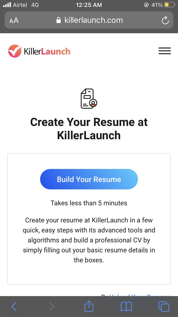 Resume Builder at KillerLaunch