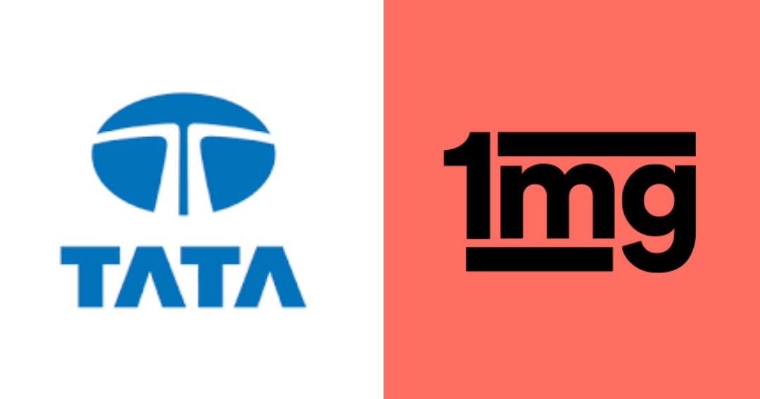 Tata Group and 1mg logos.