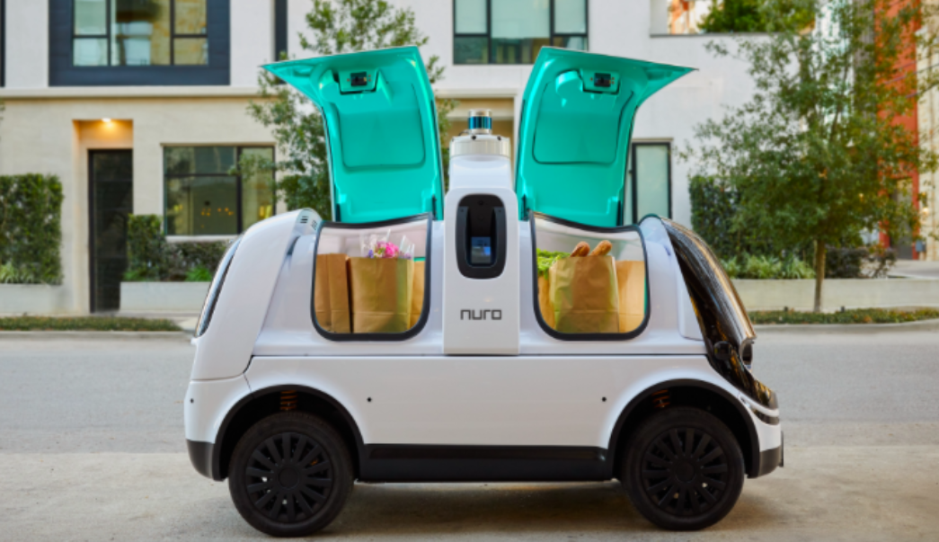 Nuro R2 unit, self-driving delivery vehicle.