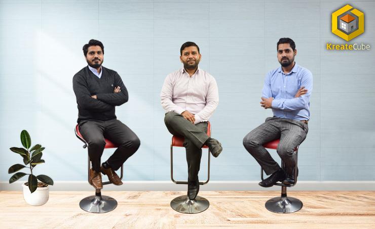 KreateCube Co-Founders- (L-R)- Tabish, Deepak, Alam