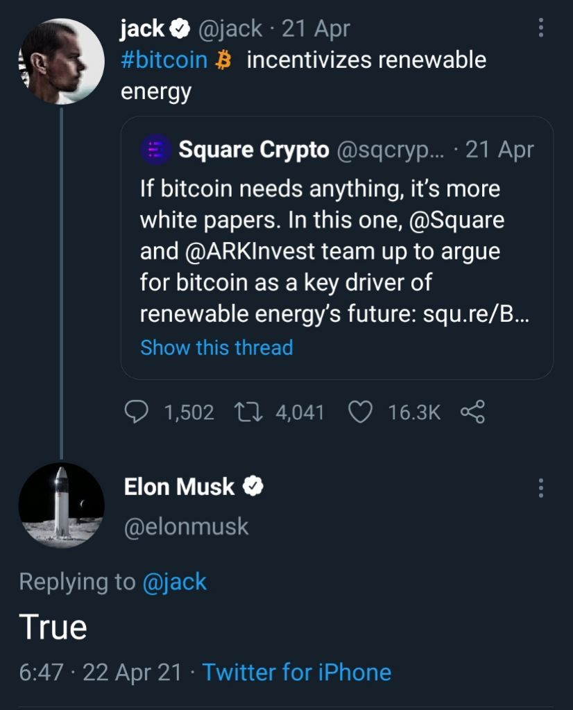 Elon's reply to Jack on Twitter