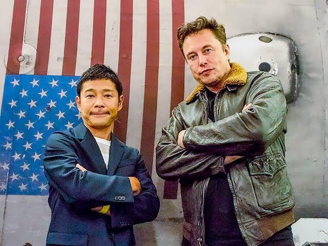 Maezawa with Elon Musk