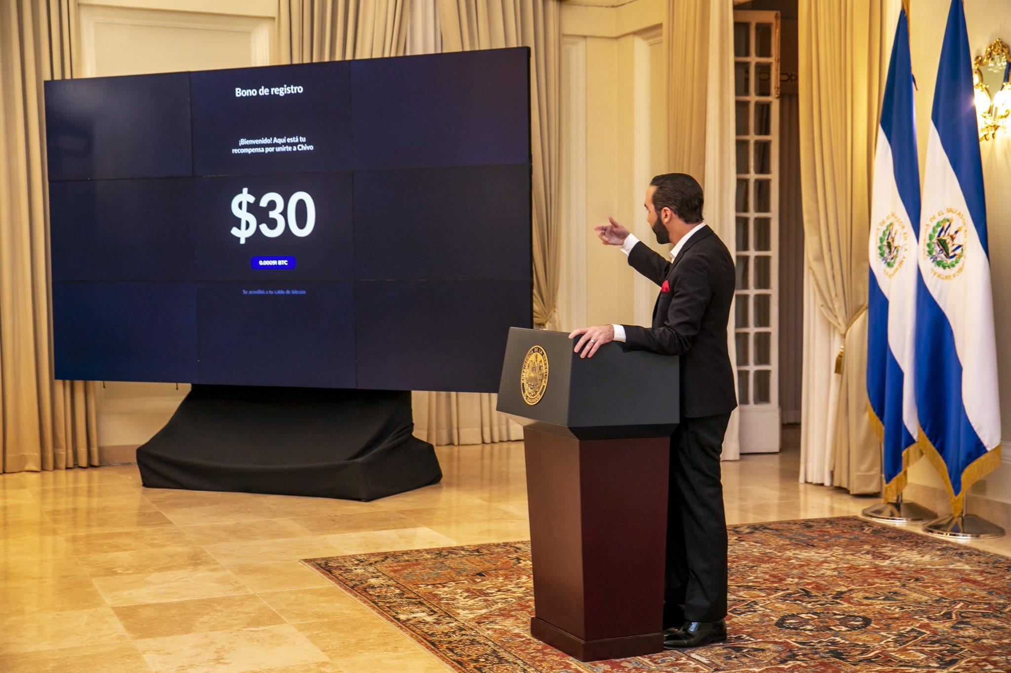 El Salvador is giving away $30 in Bitcoin