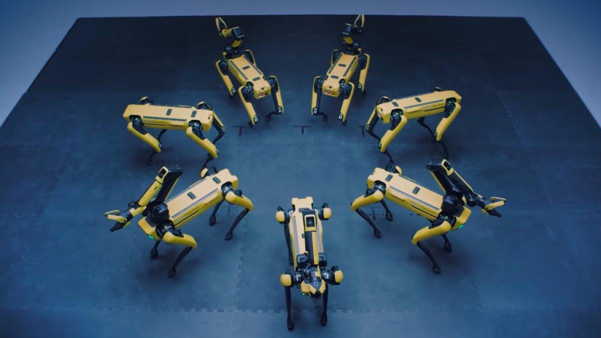 Boston Dynamics' Spot and Atlas robots dance off