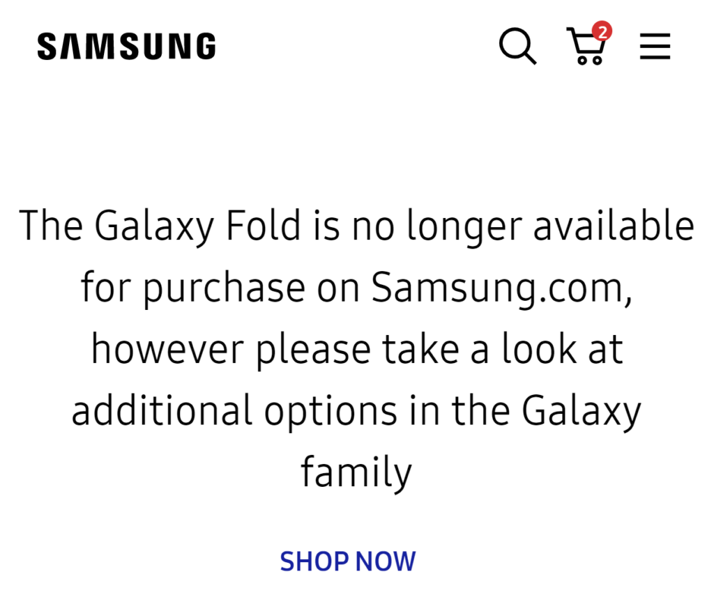 Samsung discontinues the sales of the Galaxy Z Fold 2 in the US markets