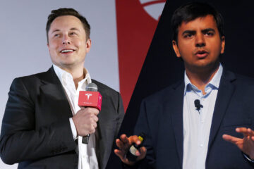 Image of Tesla CEO Elon Musk on Left; Ola CEO Bhavish Aggarwal on Right