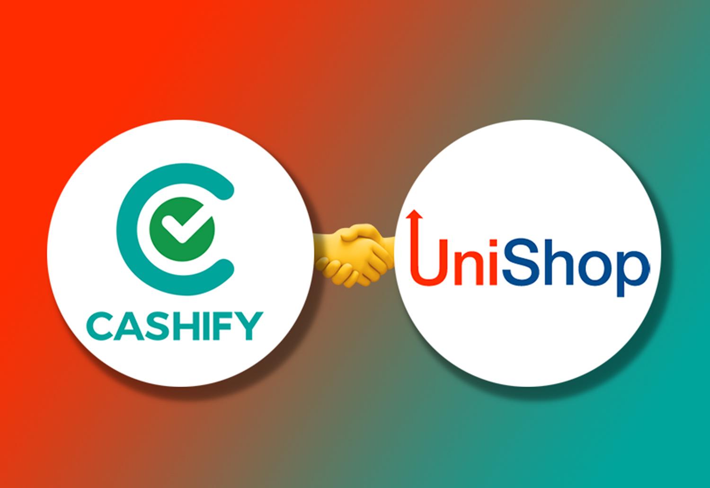 Cashify & UniShop Logo on a Gradient Background