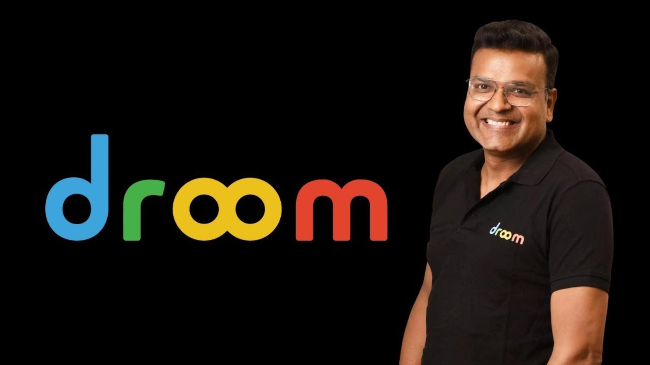 Droom logo along side Founder and CEO Sandeep Aggarwal