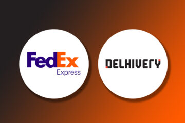 Logo of FedEx Express and Delhivery on a gradient background
