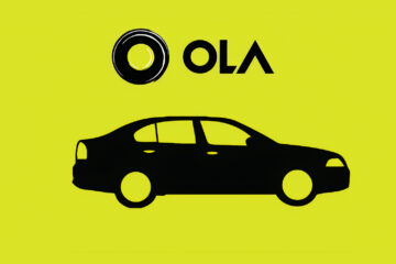 Ola logo along with a vector image of Car on Yellowish background