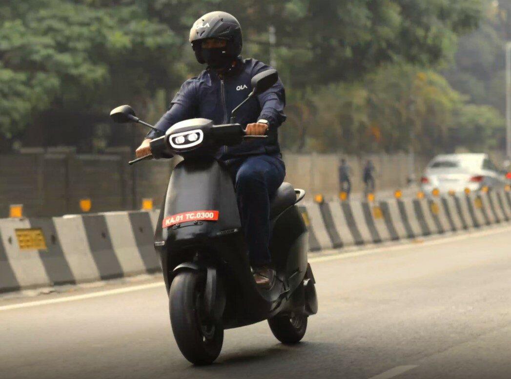 CEO Bhavish Aggarwal riding Ola's upcoming electric scooter