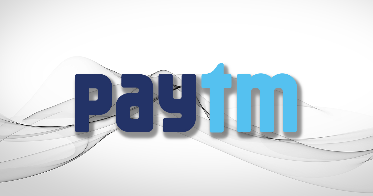 Paytm logo on white background with gray abstract shapes