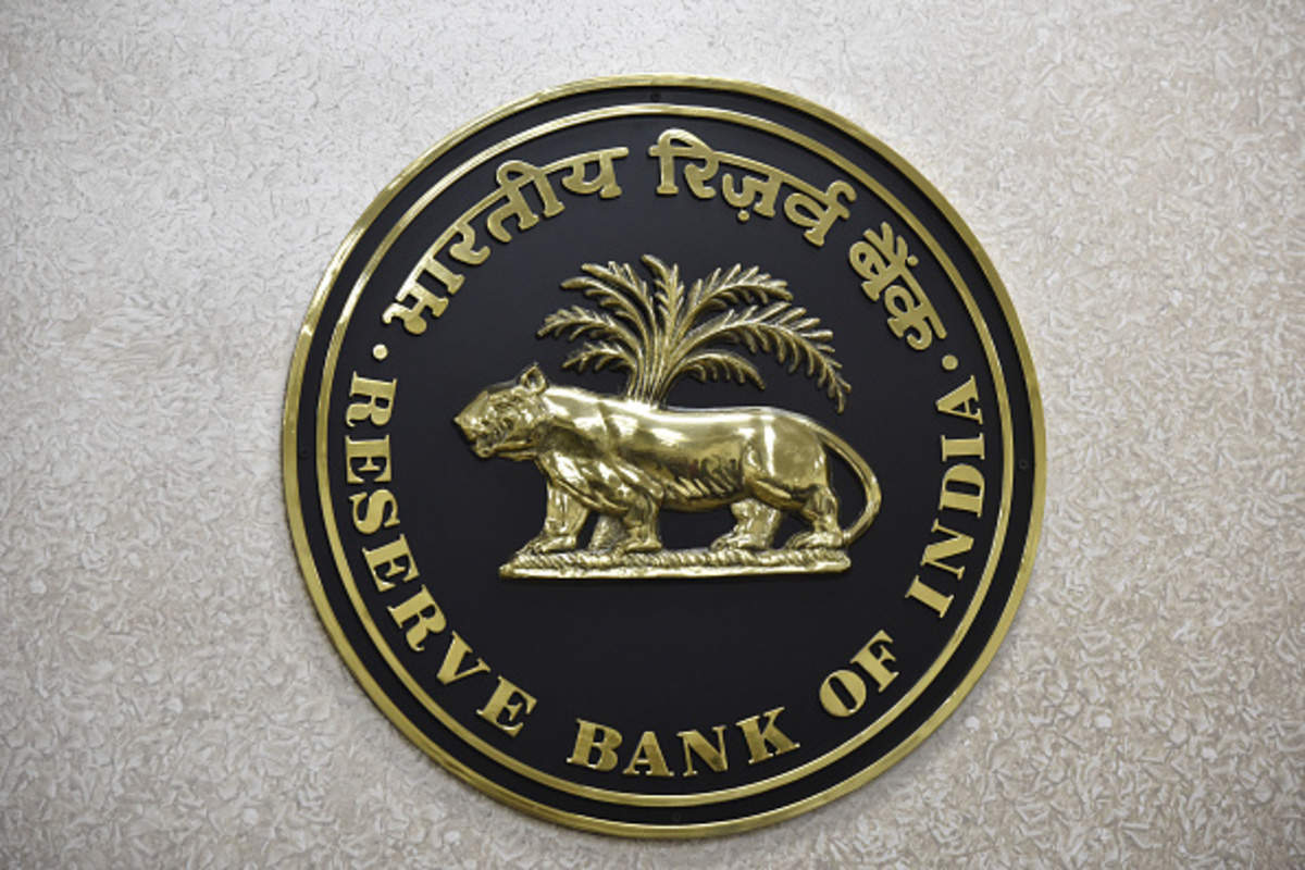 The Reserve Bank of India (RBI) logo is displayed on a wall inside the Reserve Bank of India in New Delhi