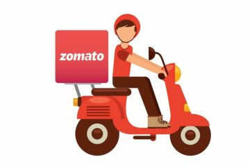 Illustration: Delivery Guy on Two Wheeler Vehicle with Zomato Logo