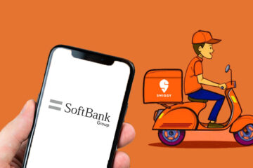 Softbank logo representation on a smartphone; Illustration of a Swiggy Delivery Guy riding a scooter