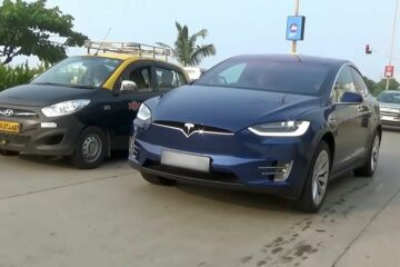 Tesla Car on Indian Road
