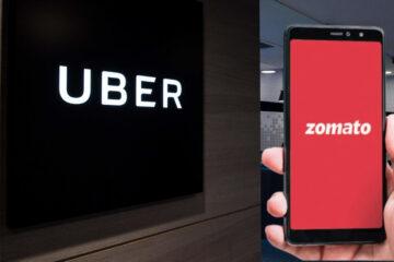 Zomato Logo on Smartphone with Uber Logo in Background