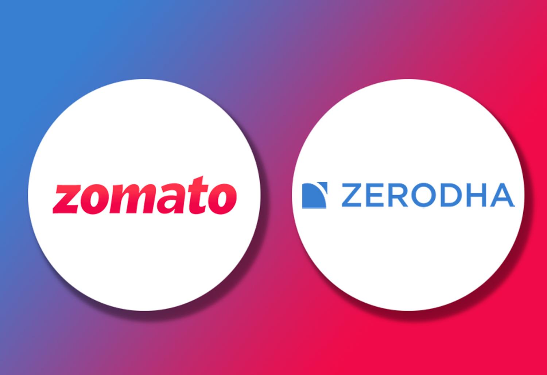 Logo of Online food delivery platform Zomato and stockbroking platform Zerodha