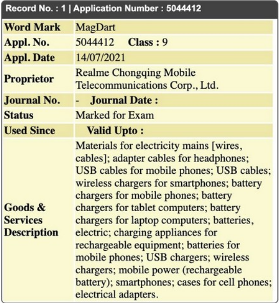 Realme MagDart Certification Listing