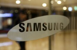 Samsung Electronics Co. logo is displayed at the company's office building